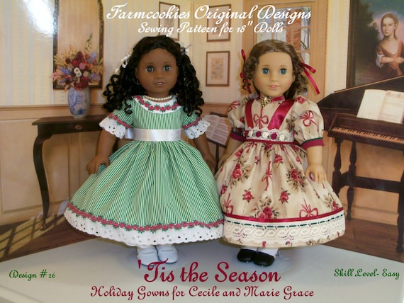 "PDF Sewing Pattern - Tis the Season / Holiday Gowns for 18"" Dolls"