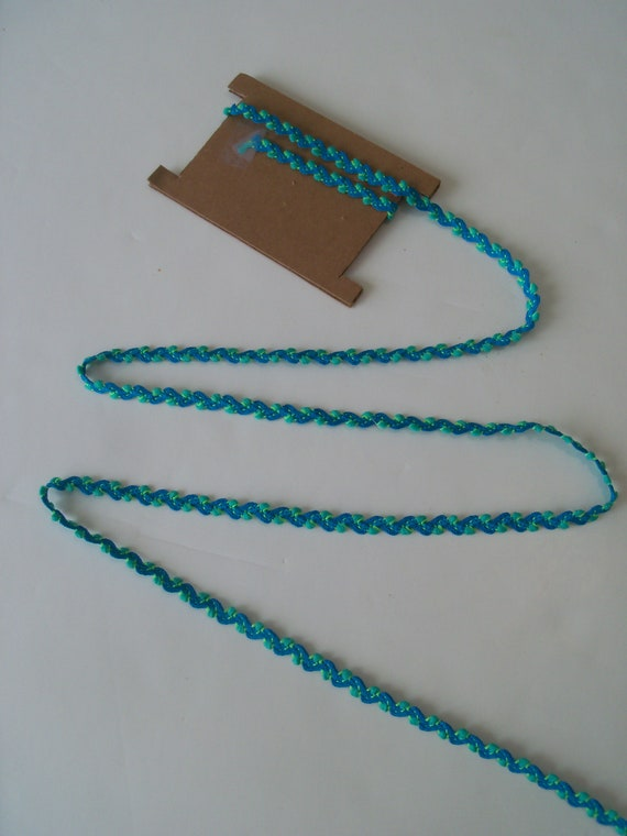 END OF BOLT!!  Almost 2 yards Teal Blue & Green Rick Rack with Loops for  Doll Clothes