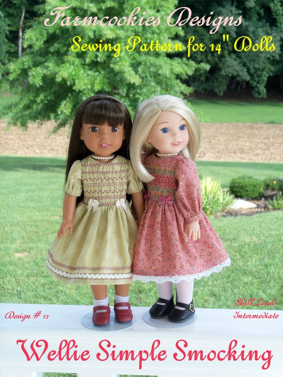 "PDF Sewing Pattern: Wellie SIMPLE SMOCKING /Pattern Fits 14"" American Girl  Wellie Wishers®"