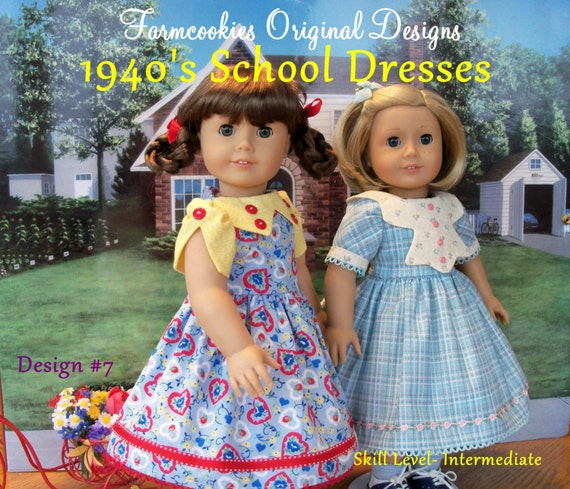 PRINTED SEWING PATTERN  / 1940's School Dresses by Farmcookies / Fits Like 18 Inch American Girl® Doll Clothes /Doll Clothes Pattern
