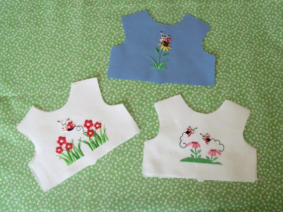 "18 Inch size / Farmcookies Embroidered Ladybug Bodice Fronts  / Linings Included / Sewing for 18"" American Girl Doll Clothes"