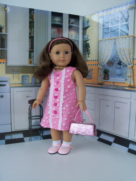 Fits Like American Girl® Doll Clothes / Summer Dress and Doll Purse / 18 Inch Doll Clothes by Farmcookies
