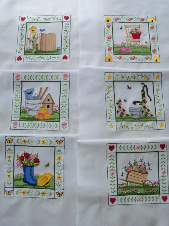 Elaborate Garden Block Quilt Squares Made to Order