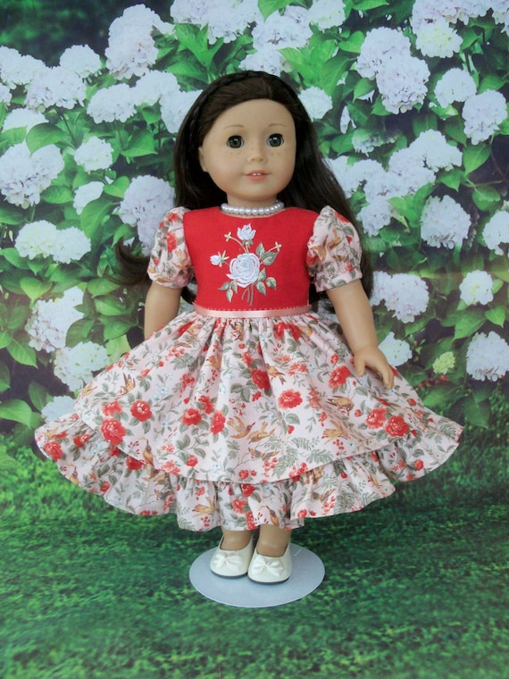 Fits Like American Girl Doll Clothes / 18 Inch Size / Historical Mid 1800s Doll Dress / Fits American Girl and other 18 Inch Doll