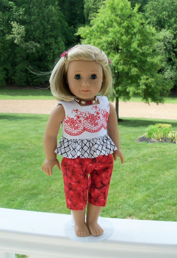 Fits Like American Girl Doll Clothes  / Farmcookies Summer Top and Capri Sets / 18 Inch Doll Clothes for American Girl