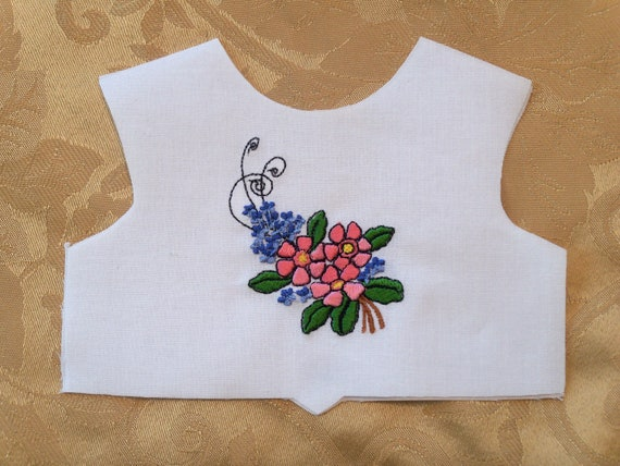 """18 Inch size / Farmcookies Embroidered  Bodice Front  / Lining Included / Sewing for 18"""" American Girl Doll Clothes"""