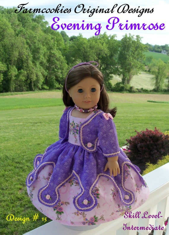 "PRINTED Sewing Pattern / Historical Evening Primrose Gown/  Fits American Girl® or Other 18"" Dolls"