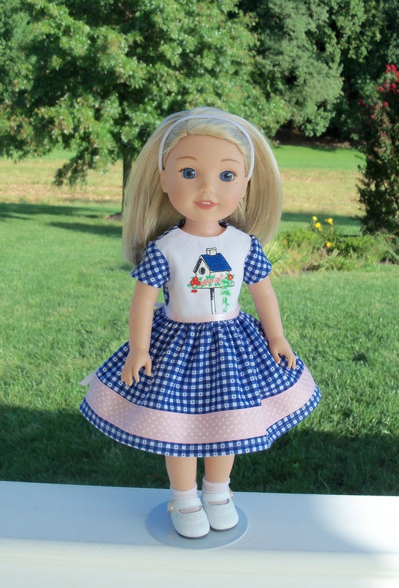 Fits Like American Girl WELLIE WISHER  Doll Clothes / Farmcookies  Doll Dress  / 14 Inch Doll Clothes / Fall Dress For American Girl