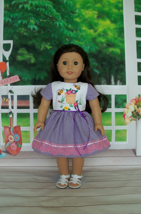 Fits Like American Girl  Doll Clothes / Embroidered Spring Dress by Farmcookies / 18 Inch Doll Clothes For American Girl