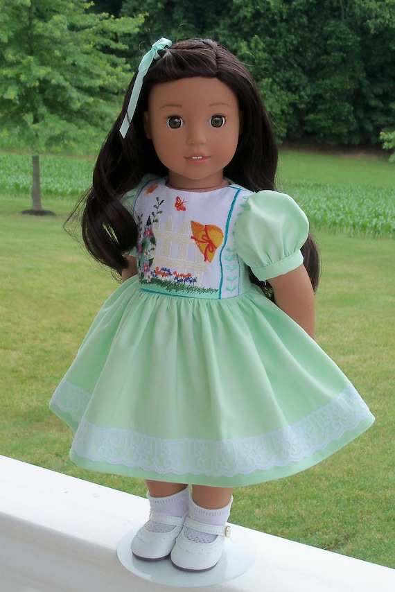 Like American Girl Doll Clothes / Embroidered Dress and Shoes / 18 Inch Clothes by Farmcookies  18 Inch Dress fits American Girl