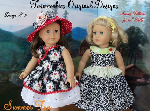 "Like American Girl Doll PDF Sewing Pattern / SUMMER FUN / Farmcookies Instant Download 18"" Doll Clothes Pattern For American Girl®"