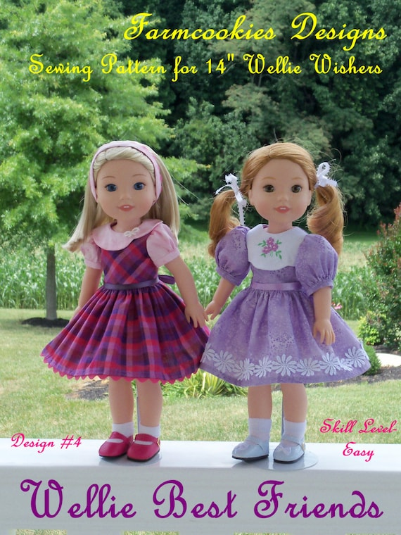 "PDF Sewing Pattern: Wellie Best Friends/ Sewing Pattern Fits 14"" American Girl  Wellie Wishers® and Glitter Girls"