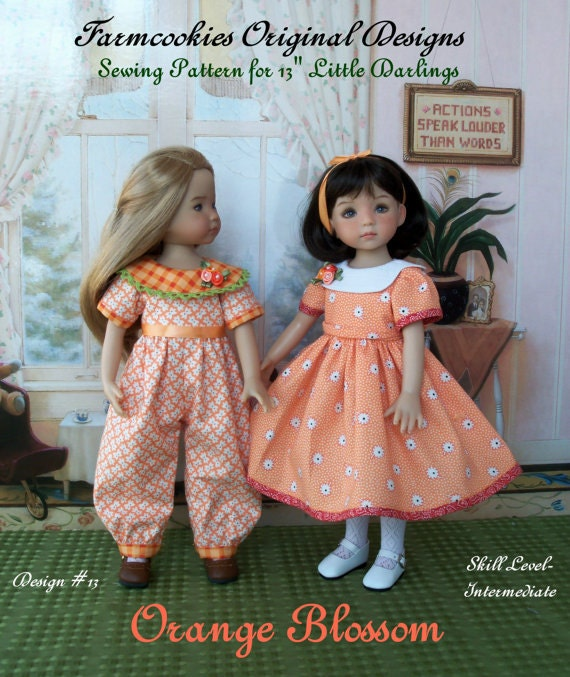"Printed Sewing Pattern / ORANGE BLOSSOM for  Dianna Effner's 13"" Little Darling Dolls"