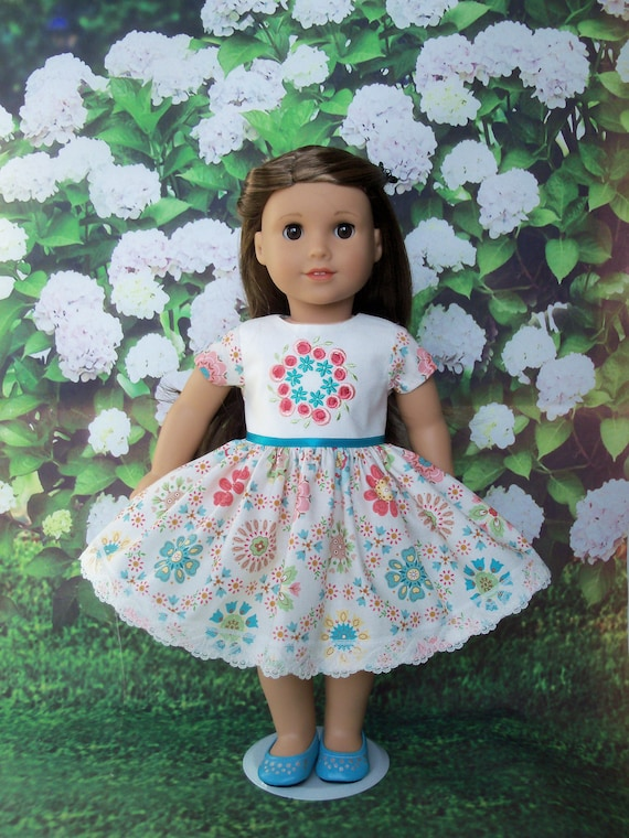 Fits Like American Girl Doll Clothes / Farmcookies Embroidered 18 Inch Doll Dress  / 18 Inch Doll Clothes For American Girl