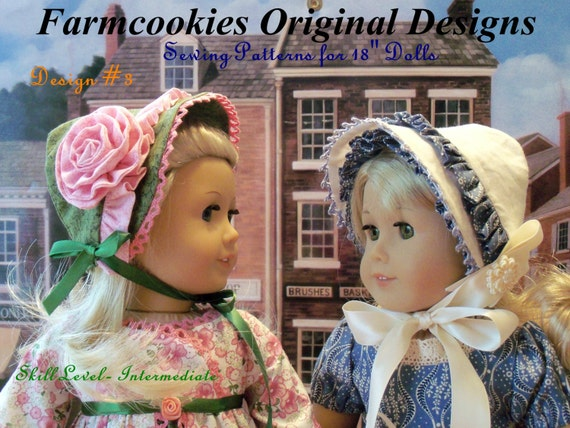 "PDF Sewing Pattern/  4 Historical Bonnets / for American Girl® or Other 18"" Dolls/ Fits Like American Girl Doll Clothes Pattern"