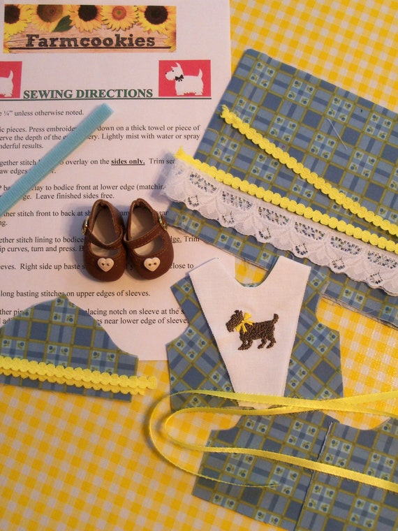 """FREE SHOES / 14"""" COMPLETE SEWiNG KiT for 14 Inch Doll Clothes / Embroidered Dress Kit / Fits Like American Girl  Wellie Wisher Doll Clothes"""