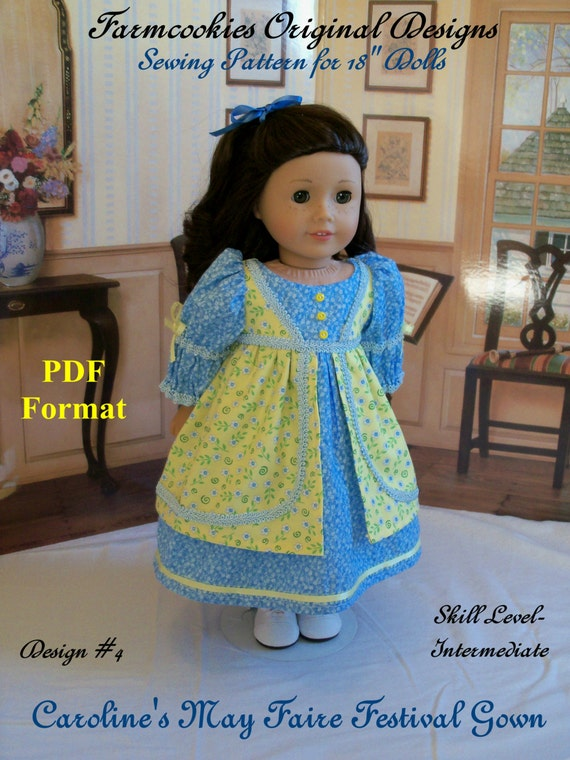 "PDF Sewing Pattern /Regency May Faire Festival Gown/ Sewing Pattern  Fits   American Girl® or other 18"" Dolls"