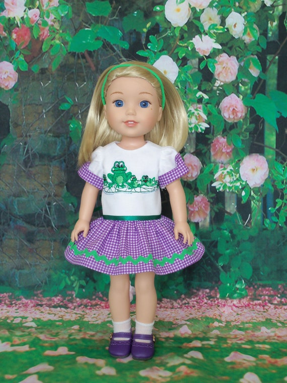 Like Wellie Wisher Doll Clothes/ Farmcookies Embroidered Easter Dress and Shoes / 14 Inch Doll Clothes Fits Wellie Wishers, Glitter Girls