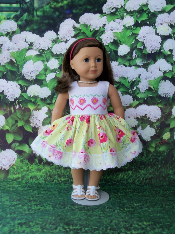 Fits Like American Girl Doll Clothes / Farmcookies Summer Doll Dress  / 18 Inch Doll Clothes / Summer Dress For American Girl