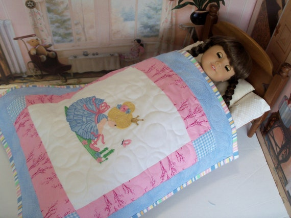 """Farmcookies Embroidered Keepsake Heirloom Ballerina Quilt for 18"""" American Girl Doll / Like American Girl Doll Clothes and Bedding"""