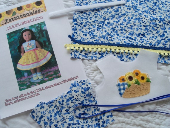 """18"""" Size /COMPLETE SEWING KIT for 18 Inch Doll Clothes / Farmcookies  Embroidered Summer Dress Kit / Fits Like American Girl Doll Clothes"""