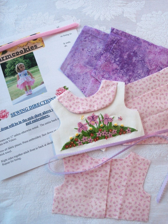 """18"""" Size /COMPLETE SEWING KIT for 18 Inch Doll Clothes / Farmcookies Embroidered Swan Lake  Dress Kit / Fits Like American Girl Doll Clothes"""