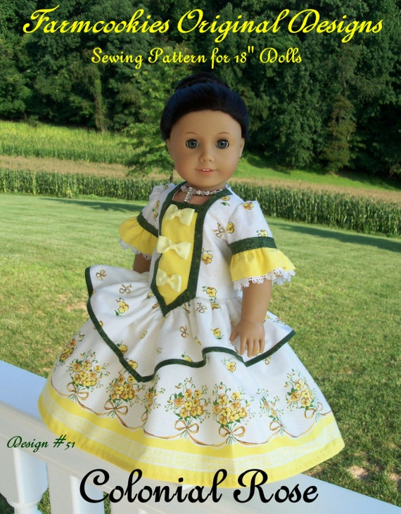 "PDF Doll Clothes Sewing Pattern / COLONIAL ROSE Gown & Crinoline Fits 18"" Dolls Like American Girl ®"