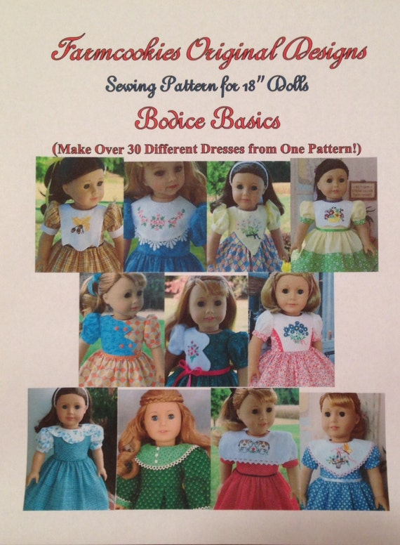 "Xl PRINTED SEWING PATTERN / Bodice Basics for American Girl or other 18"" Dolls / Make 30  Dress from 1 Pattern!"