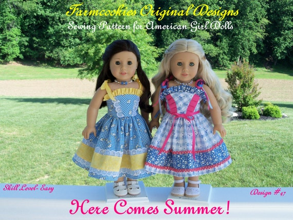 "PDF SEWING PATTERN for 18 Inch Doll Clothes / Here Comes Summer! / Sundress Fits Like 18"" American Girl Doll Clothes Pattern"
