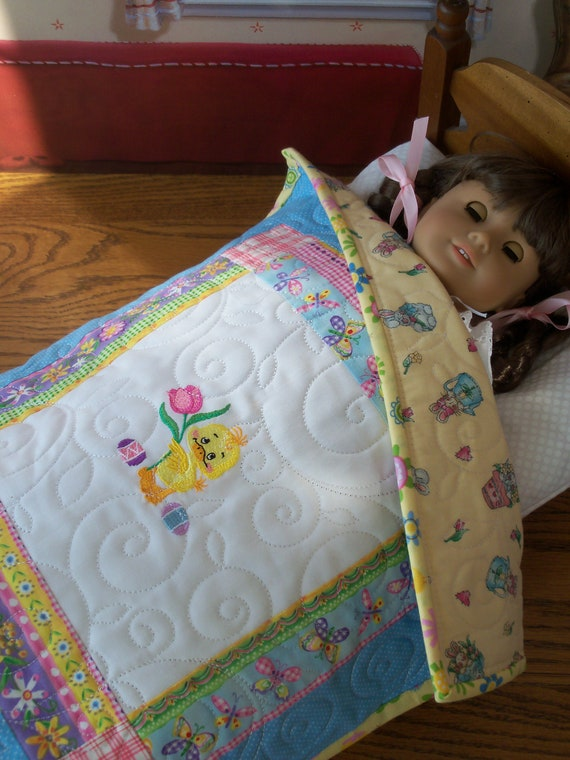 "Farmcookies Embroidered Keepsake Heirloom Quilt for 18"" American Girl Doll / Like American Girl Doll Clothes and Bedding"