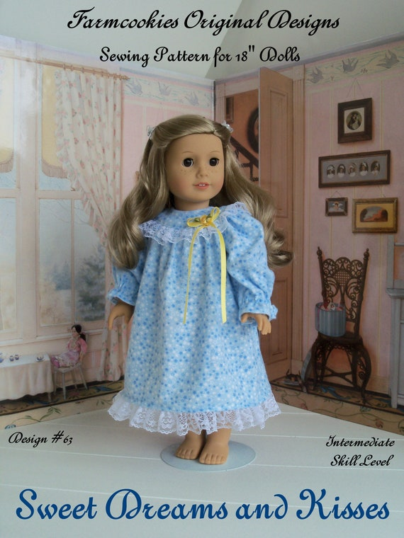 PDF SEWING PATTERN / Sweet Dreams & Kisses Nightgown / 18 Inch Doll Clothes Pattern / Fits Like American Girl Doll Clothes