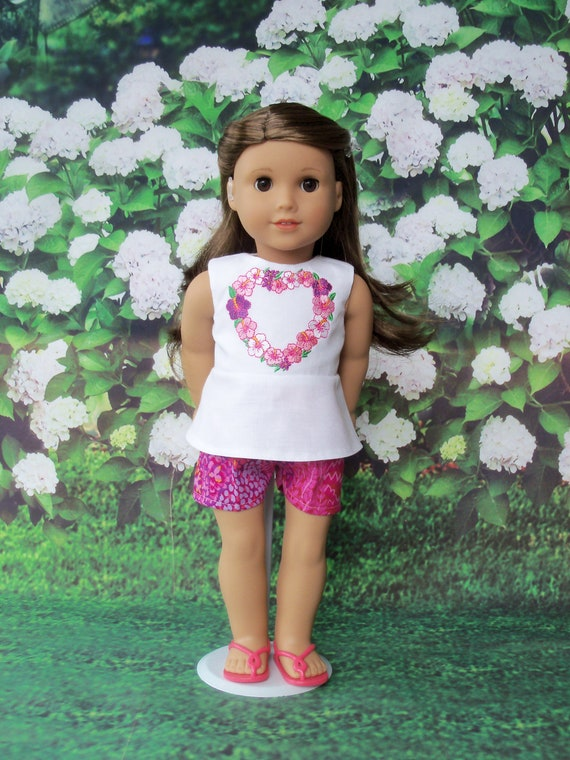 Fits Like American Girl Doll Clothes / Farmcookies Summer Top and Shorts / 18 Inch Doll Clothes for American Girl