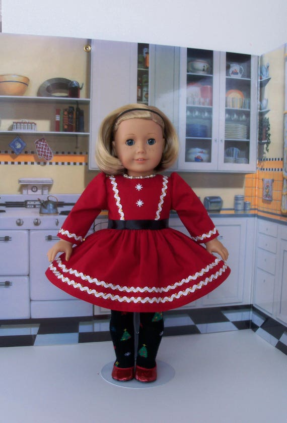 """18 Inch Doll Clothes / Winter Dress and Tights by Farmcookies / Fits Like 18""""  American Girl Doll Clothes"""