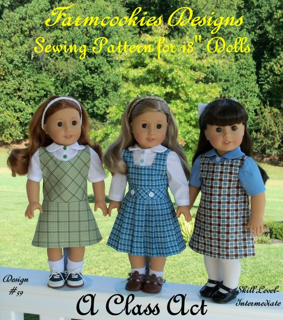 "18""  Size / PDF Sewing Pattern: A CLASS ACT /School Uniform Pattern fits Like American Girl Doll Clothes Patterns"