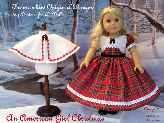 "PRINTED Sewing Pattern / Farmcookies An American Girl Christmas / 18 Inch Sewing Pattern Fits American Girl® or Other 18"" Doll"