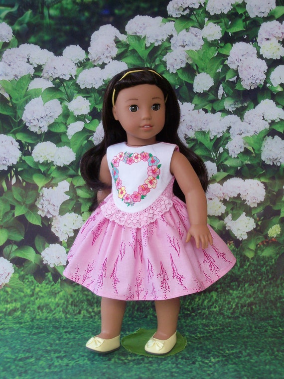 Fits Like American Girl Doll Clothes / Farmcookies Spring Doll Dress  / 18 Inch Doll Clothes/ Hawaiian Dress For American Girl