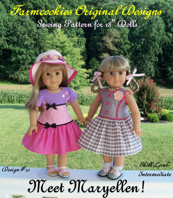 "PRINTED Sewing Pattern / Meet Maryellen! / Farmcookies 1950s Style Pattern fits American Girl or Other 18"" Doll"