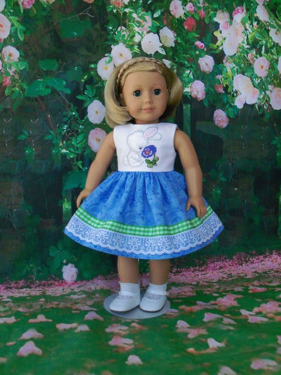 Fits Like American Girl  Doll Clothes / Embroidered Spring Bunny Dress by Farmcookies /18 Inch Doll Clothes For American Girl