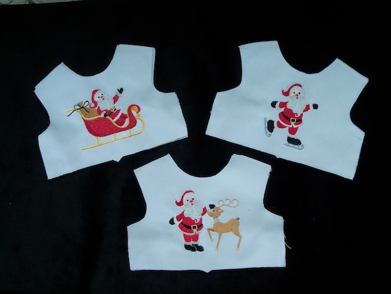 """18 Inch size / Farmcookies Embroidered Christmas Bodice Front  / Lining Included / Sewing for 18"""" American Girl Doll Clothes"""
