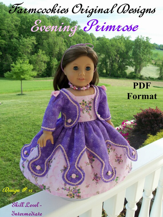 "PDF Pattern  / Evening Primrose Gown/  Sewing Pattern Fits American Girl or Other 18"" Dolls"