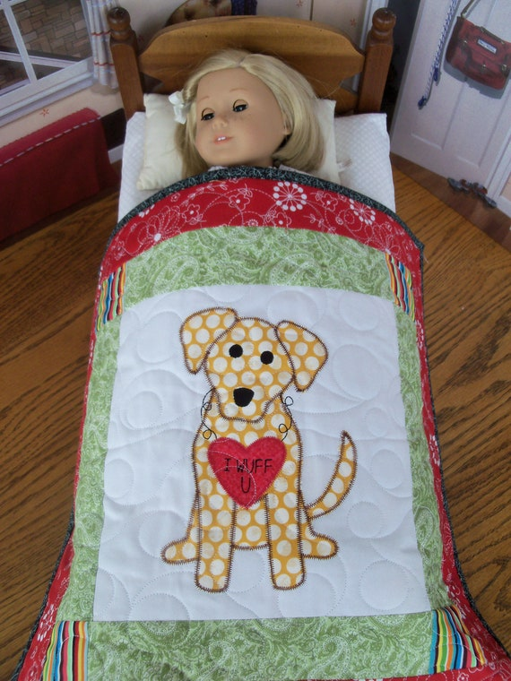 """Farmcookies Applique Keepsake Heirloom Quilt for 18"""" American Girl Doll / Like American Girl Doll Clothes and Bedding"""