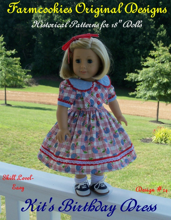 "PDF Sewing Pattern- 1930's Birthday Dress / Sewing Pattern Fits  18"" Dolls"