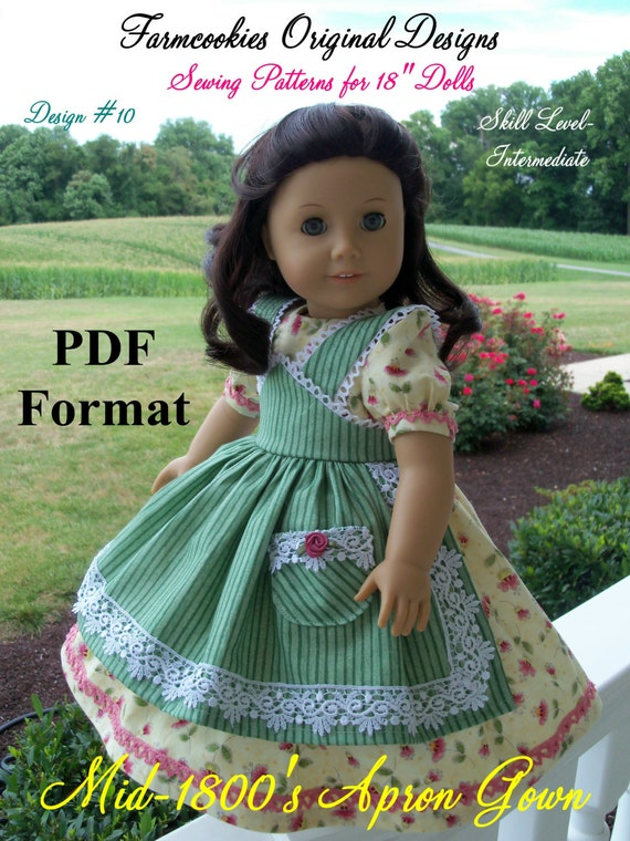 "PDF Sewing Pattern fits American Girl Doll Marie Grace, Addy or Caroline: Mid-1800s Apron Gown/ Farmcookies Pattern for 18"" Dolls"