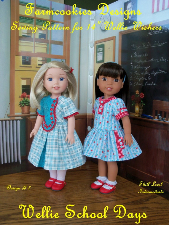 "PDF SEWING PATTERN: Wellie School Days / Sewing Pattern Fits American Girl ® Wellie Wishers® or other 14"" doll"