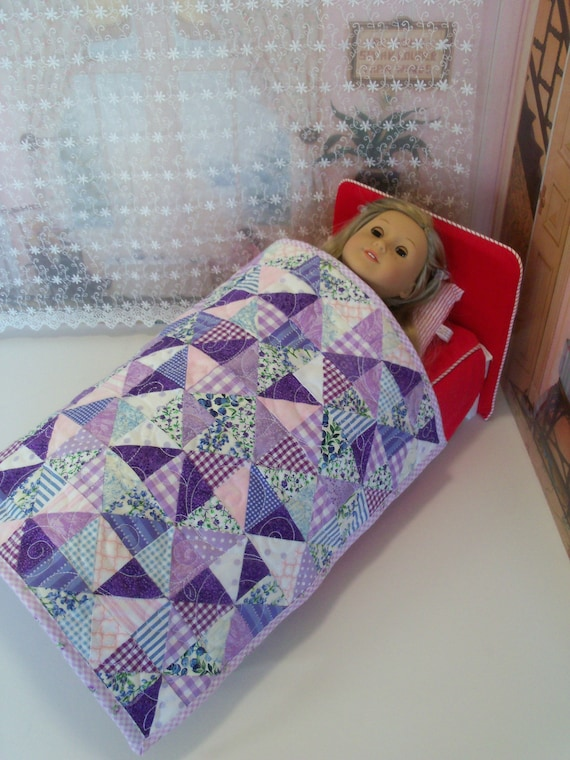 "Farmcookies Scrap Bag Granny Square Heirloom Quilt for 18"" American Girl Doll / Like American Girl Doll Clothes and Bedding"