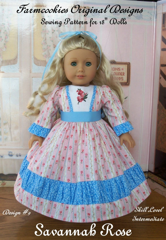"PDF Sewing Pattern / Savannah Rose / Fits  American Girl®  or Other 18"" Doll"