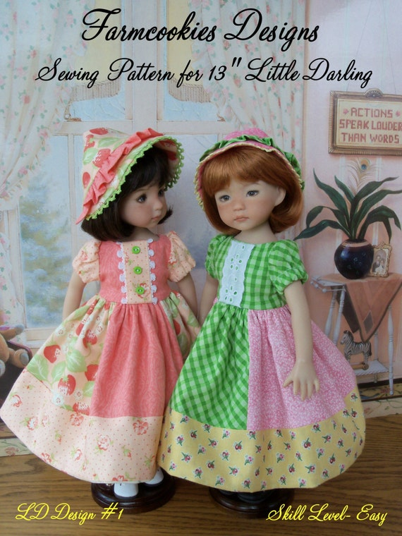 "Little Darling Printed Pattern/ Patchwork Princess/ Sewing Pattern for 13""  Dolls"