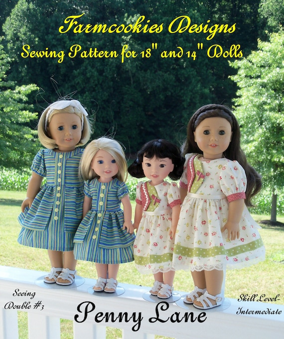 "2 Sizes! PDF Sewing Pattern: Penny Lane/For BOTH 18"" American Girl ® and 14"" Wellie Wishers®/ Fits Like American Girl Doll Clothes Pattern"