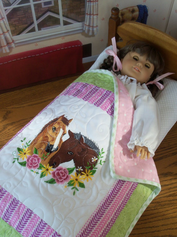 "Farmcookies Embroidered Keepsake Horse Heirloom Quilt for 18"" American Girl Doll / Like American Girl Doll Clothes and Bedding"