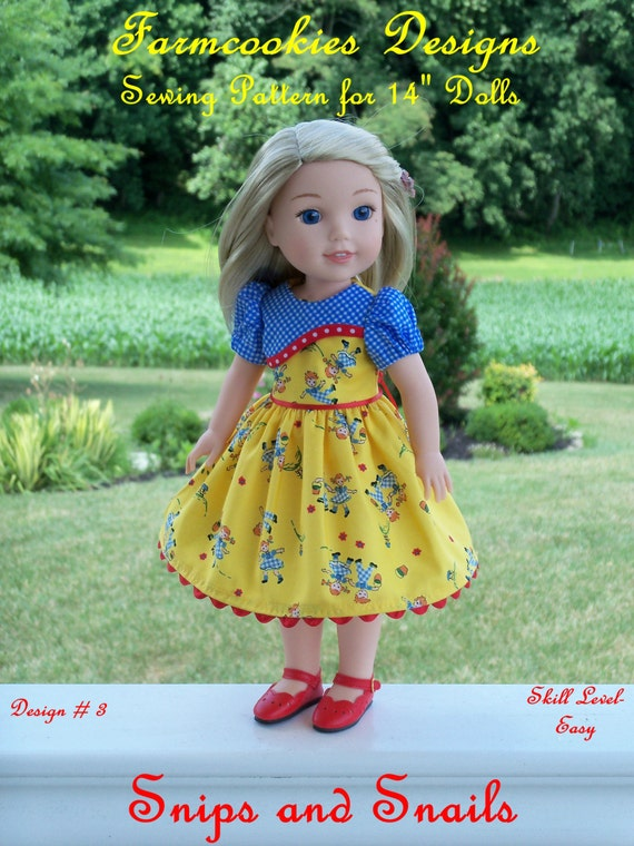 "WELLIE WISHER® PRINTED Sewing Pattern: Snips and Snails / Sewing Pattern Fit 14"" American Girl  Wellie Wishers®"